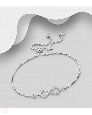 Bratara din argint model infinit cu cristale albe