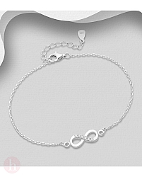 Bratara din argint model infinity cu cristale