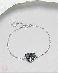 Bratara din argint model inima cu cristale multicolore