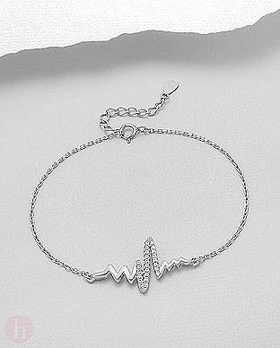 Bratara din argint model heartbeat cu cristale