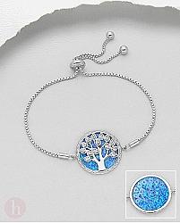 Bratara din argint model Tree of Life cu pietre albastre si albe