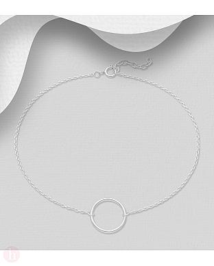 Bratara din argint pentru glezna cu cerc