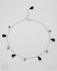 Bratara din argint pentru glezna cu cristale lacrimi negre