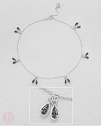 Bratara din argint pentru glezna cu cristale negre