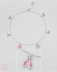 Bratara din argint pentru glezna cu cristale roz