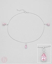 Bratara din argint pentru glezna cu cristale roz in forma de lacrima