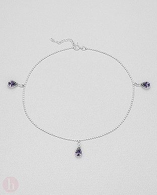Bratara din argint pentru glezna cu cristale violet in forma de lacrima