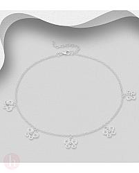 Bratara din argint pentru glezna cu fluturi stilizati