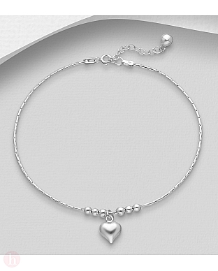 Bratara din argint pentru glezna cu inima, bilute si clopotel