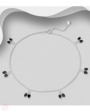 Bratara din argint pentru glezna cu inimioare negre