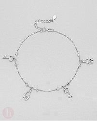 Bratara din argint pentru glezna, cu lacate, chei, bilute si cristale