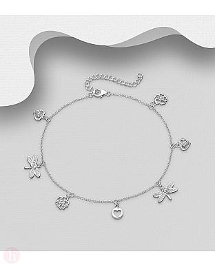Bratara din argint pentru glezna cu libelula, inima, floare si cristale