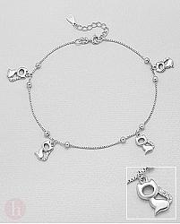 Bratara din argint pentru glezna cu pisici si cristale albe