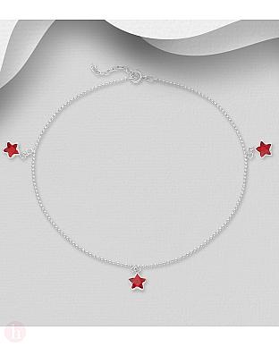 Bratara din argint pentru glezna cu stelute rosii