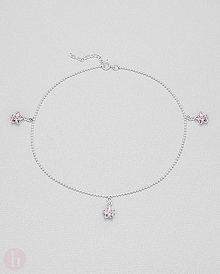 Bratara din argint pentru glezna cu stelute roz