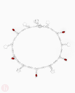 Bratara din argint pentru glezna cu stelute si cristale rosii