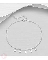 Bratara din argint pentru glezna, model cu cercuri