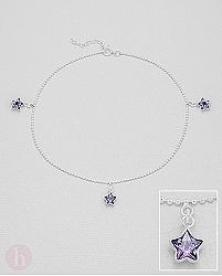 Bratara din argint pentru picior cu cristale mov in forma de stea