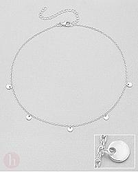 Bratara din argint pentru picior, model cu banuti - cercuri