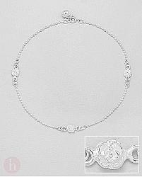 Bratara din argint pentru picior model cu trandafiri si biluta