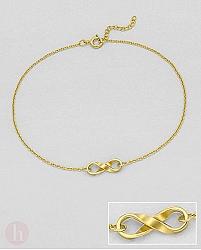 Bratara  pentru glezna din argint placat cu aur, model infinit