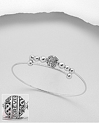 Bratara rigida din argint tip bangle, cu bilute si text I Love Forever