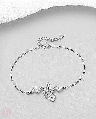 Bratara din argint rodiat model heartbeat, lacat si cristale albe