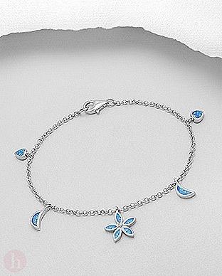 Bratara din argint rodiat model floare, inima si luna decorate cu opal