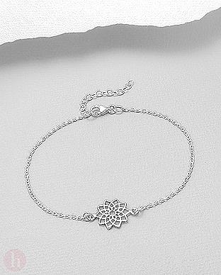 Bratara din argint simplu model floare