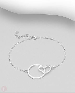Bratara din argint simplu model inima si cerc