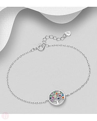 Bratara din argint Tree of Life cu cristale colorate