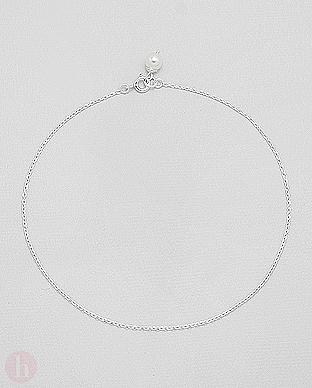 Bratara din argint pentru glezna cu perla alba