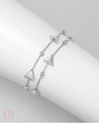 Bratara dubla din argint cu bilute si triunghuri
