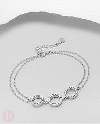 Bratara dubla din argint cu cercuri si cristale albe