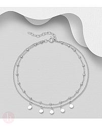 Bratara dubla din argint pentru glezna, cu bilute si cercuri