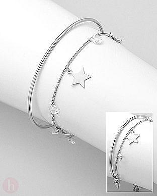 Bratara dubla din argint tip Cuff si lantisor cu stelute si cristale