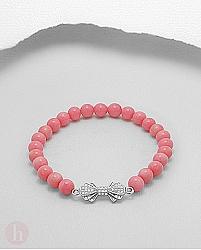 Bratara elastica cu fundita din argint si bilute de coral roz
