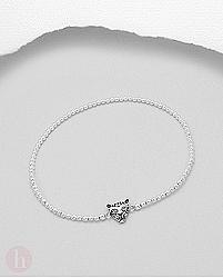 Bratara elastica din argint cu bilute si talisman tigru