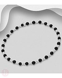 Bratara elastica din argint cu pietre negre