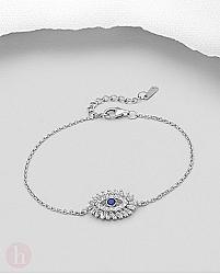 Bratara eleganta din argint, model ochi cu cristale albe si albastre
