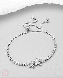 Bratara eleganta din argint cu bilute, fluturi si cristale - strasuri