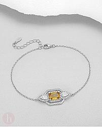 Bratara eleganta din argint cu piatra galbena de citrin si cristale zirconia albe
