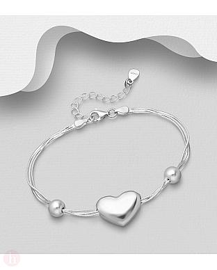 Bratara eleganta din argint cu trei lantisoare, bilute si inima