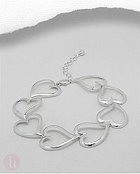 Bratara eleganta din argint masiv model sirag de inimioare