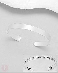 Bratara fixa argint Cuff mesaj I love you forever and always