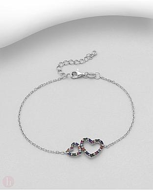 Bratara din argint cu doua inimi contur si cristale colorate