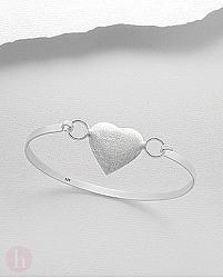 Bratara fixa argint inima aspect mat