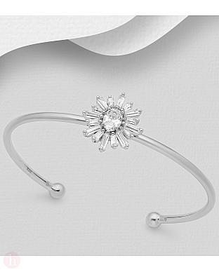 Bratara fixa din argint, model floare cu cristale albe