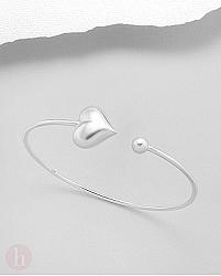 Bratara fixa din argint tip cuff cu inima si biluta