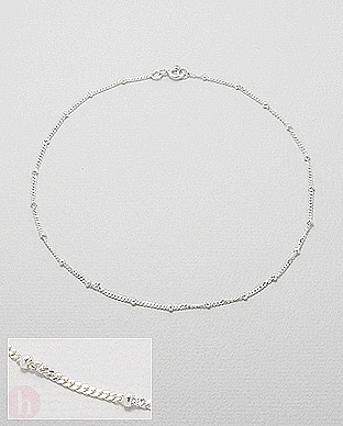 Bratara glezna argint cu bilute mici pe lantisor clasic
